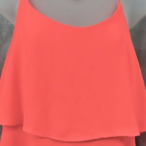 Bright Orange Layered Look Crop Top